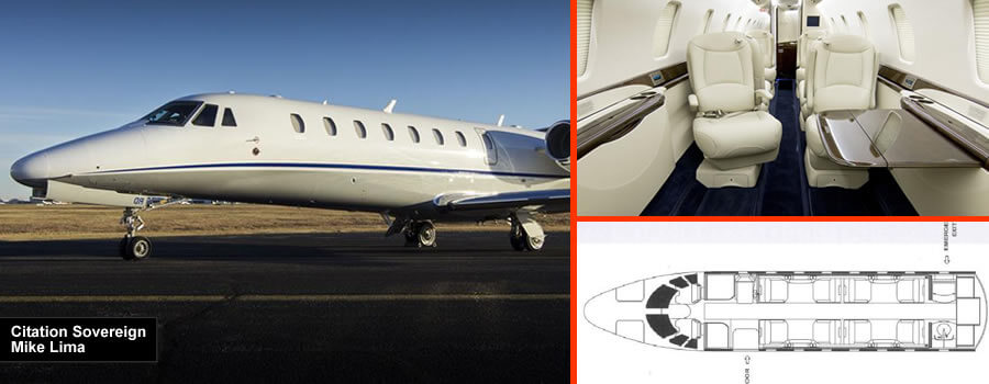 Citation Sovereign 9/10 seat private jet