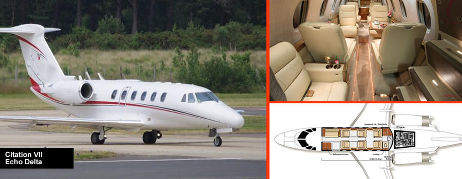 Citation VII private jet for up to 9 passengers