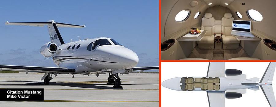 4 posti citando Mustang jet privato disponibile per il noleggio