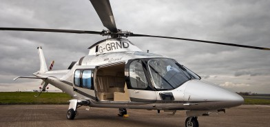 Helicopter Hire, the AGusta 109 Grand Helicopter waiting to take off