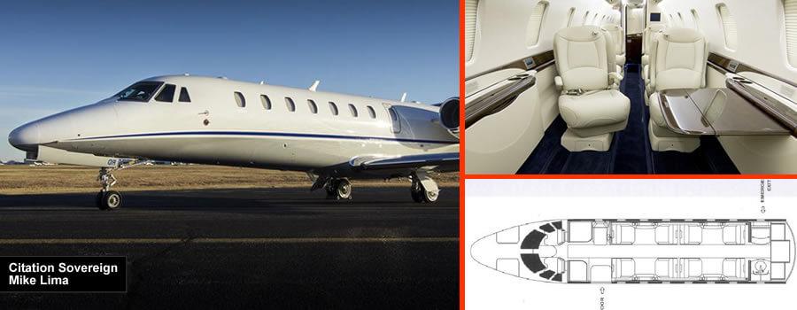 Cita Sovereign 9/10 asiento jet privado