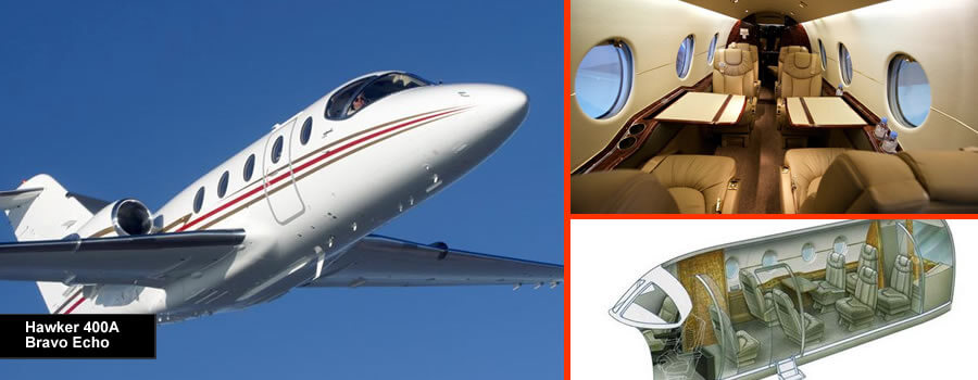 Hawker 400a and XP for up to 8 passengers