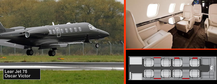 Lear Jet 75 up to 9 passengers