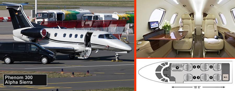 Phenom 300 para hasta 9 pasajeros con equipaje