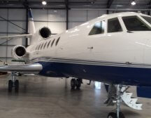 Falcon 50 Private Jet based Biggin Hill London and can carry up to 8 in comfort over about a 5 hour flight.