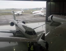 Global express and Global 6000 in hangar at Biggin HIll