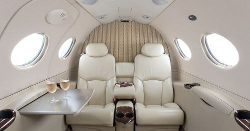 Citation Mustang interior image of its 4 seat passenger Cabin