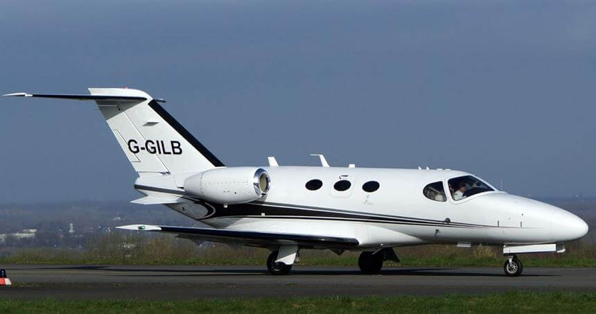The Citation Mustang private jet on the runway ready for take off