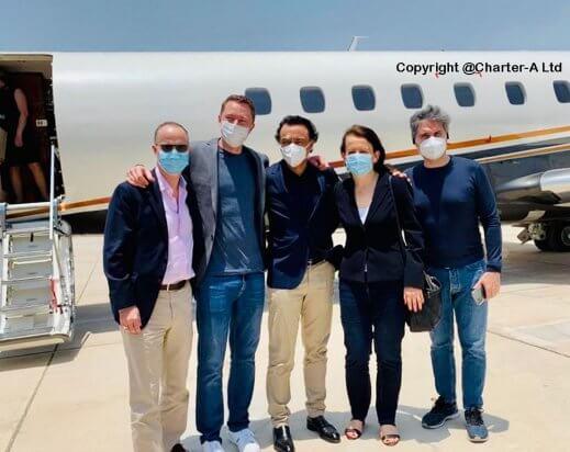 Private jet passengers arrive Abu Dhabi