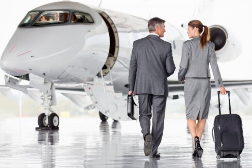 Passengers boarding a private jet